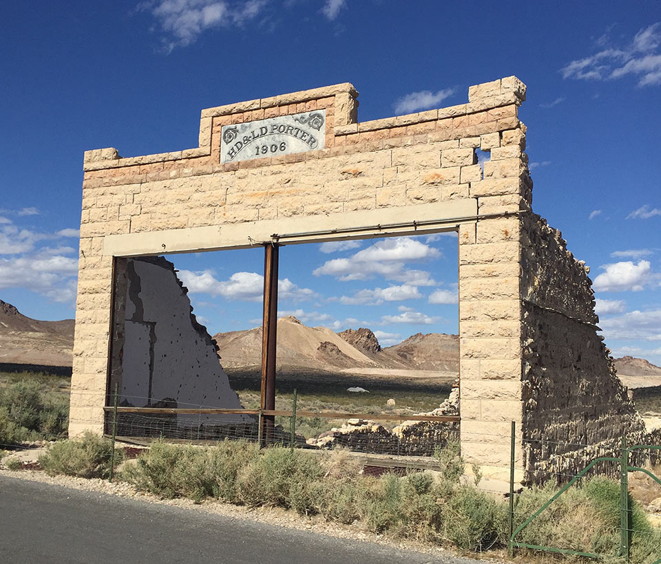1906 building in Rhyolite, a ghost town near Beatty, NV.
