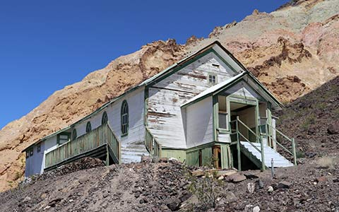 Ryan Rec Hall, once a church in Rhyolite, NV.