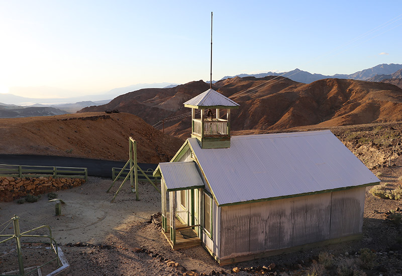 Ryan schoolhouse and Death Valley beyond.